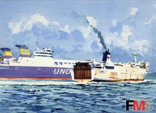 Artwork - Old and new freight roro vessel