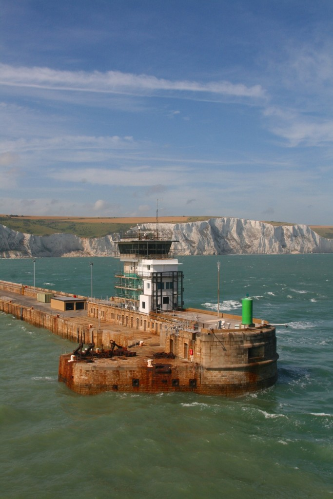 Passing the harbour wall at Dover