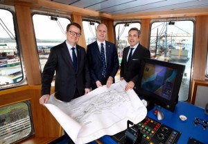 CHARTING SUCCESS … Stena Line Chief Operating Officer Hans Nilsson (left) joined Belfast Harbour Commercial Director Joe O'Neill and Stena Line Route Manager (Irish Sea North) Paul Grant to mark the 20th anniversary of the ferry company's Belfast operations.  During the last two decades, the Irish Sea's leading ferry company has invested more than £330 million in developing its Belfast services and has transported 26 million passengers, 5.5 million cars and over 4 million freight units.  This year Stena Line is poised to record its busiest year to date on its Belfast services for car and freight volumes.